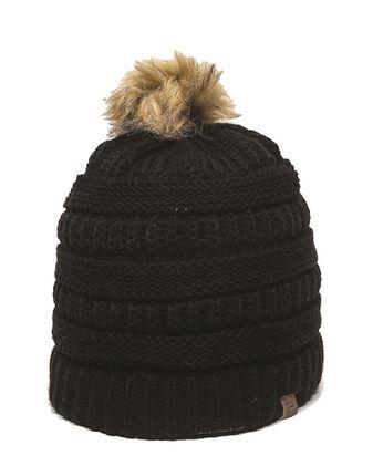 Outdoor Cap Cable Knit Faux Fur Pom OC805