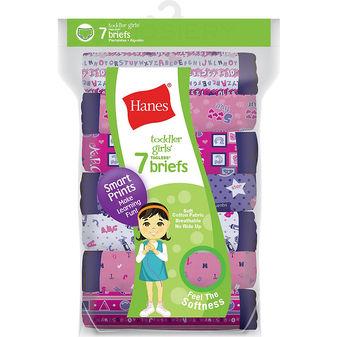 Hanes Tagless® Toddler Girls Days of the Week Pre-Shrunk Cotton Briefs 7-Pack GTHMT7