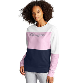 Champion Powerblend Colorblock Crew. Script Logo W4419 Y08104