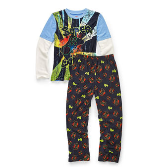 Hanes Boys Sleepwear 2-Piece Pajama Set, Super Gamer Print 6019D