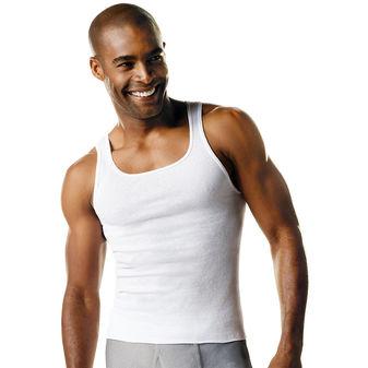 Hanes ComfortSoft® TAGLESS® Men\'s Big & Tall Ribbed Tank Undershirt 3-Pack 018HNT