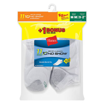 Hanes EZ-Sort® Boys\' No-Show Socks 11-Pack (Includes 1 Free Bonus Pair) 424/11