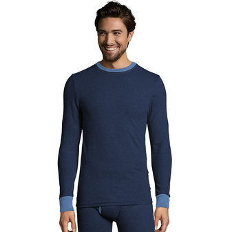 Hanes Men\'s 2-color Fusion Knit Thermal Crewneck 123301