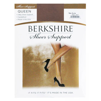 Berkshire Women\'s Plus-Size Queen Silky Sheer Support Pantyhose - Sandalfoot 4417