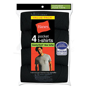 Hanes Mens ComfortSoft Cool DRI Dyed Black Crewneck TAGLESS Pocket Undershirt 4-Pk 2176