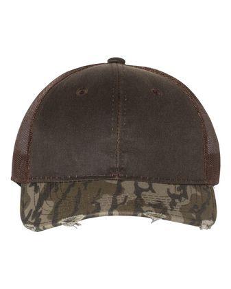 Outdoor Cap Distressed Camo Mesh-Back Cap HPC500M