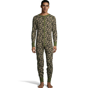 Hanes Men\'s Camo Waffle Knit Thermal Union Suit 125448