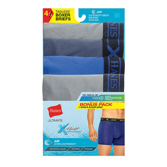 Hanes Men\'s X-Temp Air poly Boxer Brief Assorted Dyed 4-Pack UABB4A