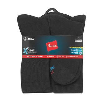 Hanes Men\'s FreshIQ X-Temp Active Cool Crew Socks 12-Pack AC1812