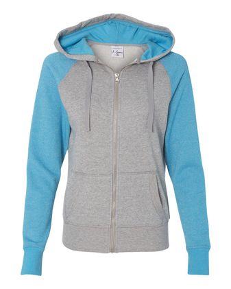 J. America Women\'s Glitter French Terry Full-Zip Hooded Sweatshirt 8868