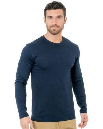Bayside Unisex Fine Jersey Long Sleeve Crewneck T-Shirt 9550