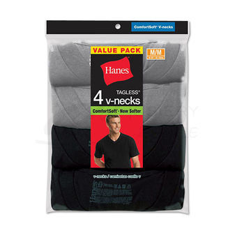 Hanes Mens Dyed ComfortSoft TAGLESS V-Neck Undershirt 4-Pk 7765AS