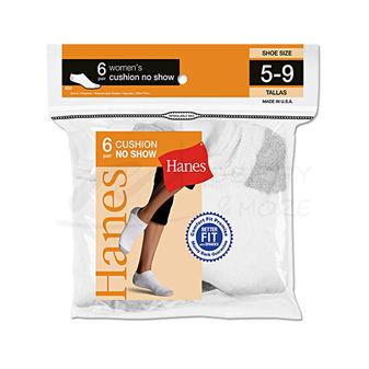 Hanes Womens Athletic No-Show Socks 6-Pk 650/6