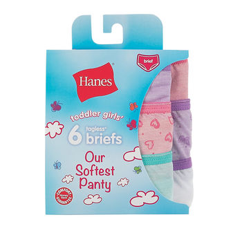 Hanes Toddler Girls\' Softest Panty Briefs 6-Pack TSFBR6