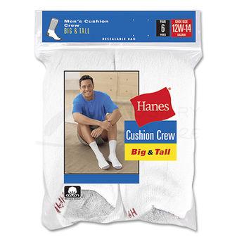 Hanes Mens Big & Tall Cushion Crew Socks 6-Pk 144/6