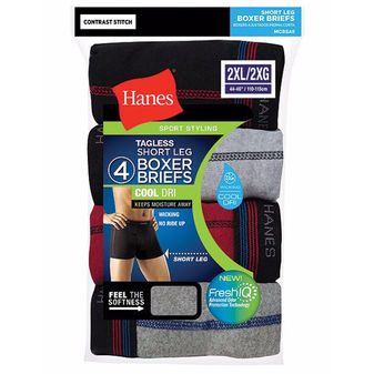 Hanes Men\'s Sport Cool DRI Short Leg Boxer Briefs 2XL 4-Pack MCBSA4