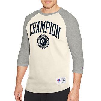 Champion Men\'s Heritage Baseball Slub Tee, Collegiate Logo With Crest T1234