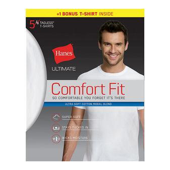 Hanes Ultimate® Men\'s Comfort Fit White Crewneck Undershirt 5-Pack (4 + 1 Free Bonus Pack) UFT15W
