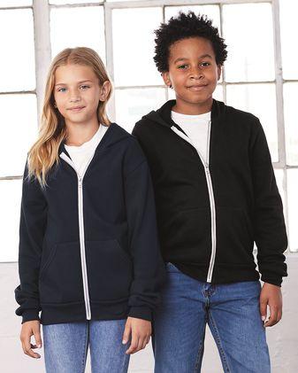 BELLA + CANVAS Youth Sponge Fleece Full-Zip Hoodie 3739Y