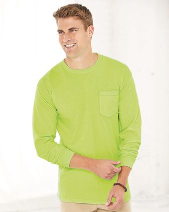 Bayside Union-Made Long Sleeve T-Shirt with a Pocket 3055