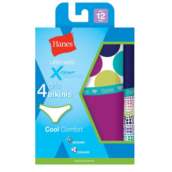 Hanes Girls Ultimate X-Temp Bikini 4-Pack GUCBK4