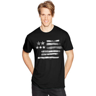 Hanes Mens Black & White Flag Graphic Tee Shirt GT49C/AB