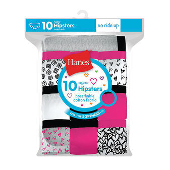 Hanes Girls\' Cotton Hipsters 10-Pack GP10HP