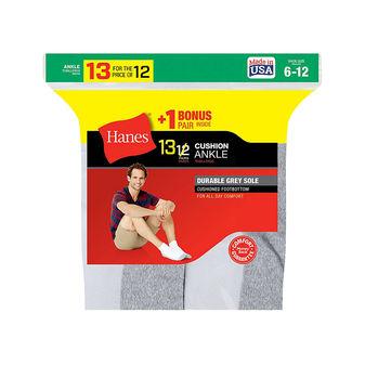 Hanes Men\'s Cushion Ankle Socks 13-Pack 186V13