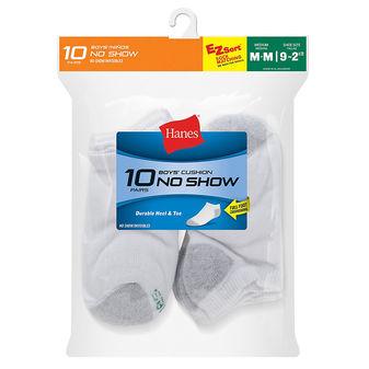Hanes Boys\' No-Show EZ Sort® Socks 10-Pack 424/10