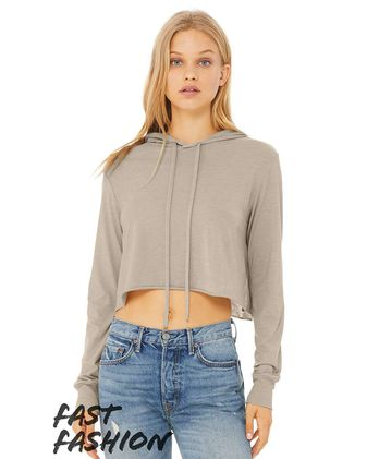 BELLA + CANVAS Fast Fashion Women\'s Triblend Cropped Long Sleeve Hoodie 8512