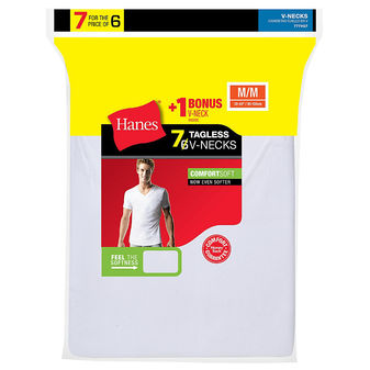 Hanes Men\'s TAGLESS® V-Neck Undershirt 7-Pack (Includes 1 Free Bonus V-Neck) 777VG7
