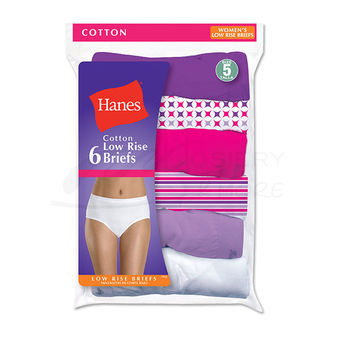 Hanes Womens No Ride Up Low Rise Cotton Brief 6-Pk PP38AS