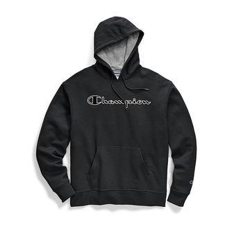 Champion Men\'s Powerblend Fleece Pullover Hoodie, Chainstitch Outline Logo