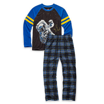 Hanes Boys Sleepwear 2-Piece Pajama Set, Astronaut Print 6019A