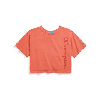 Champion Life Women\'s Garment Dyed Cropped Tee, Clear Gel Logo WL505G Y07702