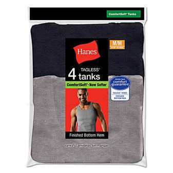 Hanes Mens TAGLESS Ribbed A-Shirt 4-Pk 392P4