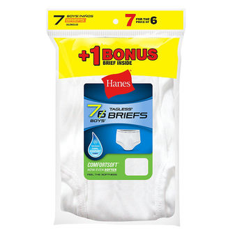 Hanes Boys\' TAGLESS® White Briefs 7-Pack (Includes 1 Free Bonus Brief) B252P7