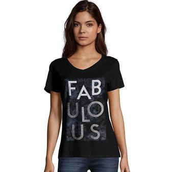 Hanes Women\'s Fabulous Short Sleeve V-Neck Tee GT9337 Y06750