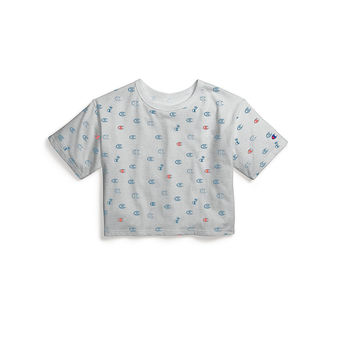 Champion Life Women Crop Tee, Allover Logo Print WL956P