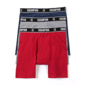 Champion Men\'s Cotton Performance Long Leg Boxer Briefs 3-Pack