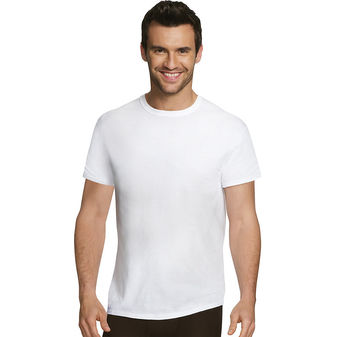 Hanes Ultimate™ Men\'s Comfort Fit White Crewneck Undershirt 4-Pack UFT1W4