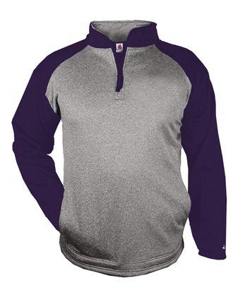 Badger Sport Pro Heather Performance Fleece Quarter-Zip Pullover 1484