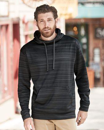 J. America Odyssey Striped Performance Fleece Hooded Sweatshirt 8661