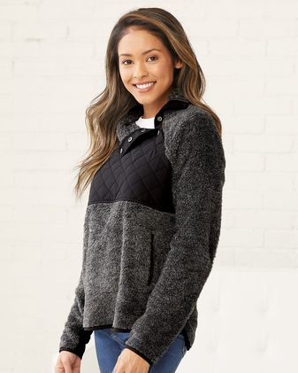 Boxercraft Women\'s Quilted Fuzzy Fleece Pullover FZ06