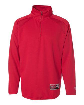 Rawlings Quarter-Zip Flatback Mesh Fleece Pullover 9751