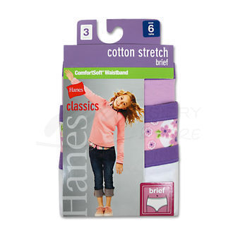 Hanes Girls Cotton Stretch Brief 3 pair GNCS30