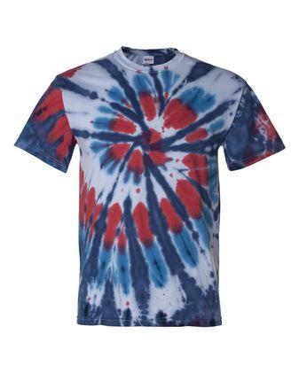 Dyenomite Multi-Color Cut-Spiral Short Sleeve T-Shirt 200T2