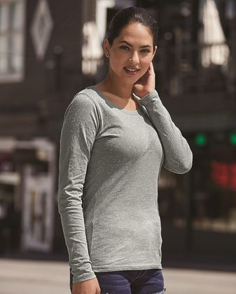 J. America Women\'s Glitter Long Sleeve T-Shirt 8236