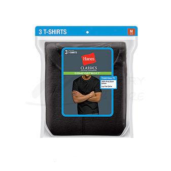 Hanes Classics Mens Traditional Fit ComfortSoft TAGLESS Black/Grey Crewneck Undershirt 3-Pk 7873BG