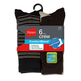Hanes Men\'s Comfortblend Lightweight Casual Dress Socks 6-Pack CB81/6